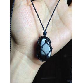 Colar Hippie Regulável Com Pedra Obsidiana Negra