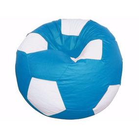 Puff Pufe Bola Futebol 80cm Azul Claro Vazio Sem Enchimento 79cdda6e7be6f