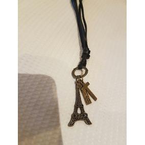 Colar De Couro Ajustável Pingente Torre Eiffel Unissex