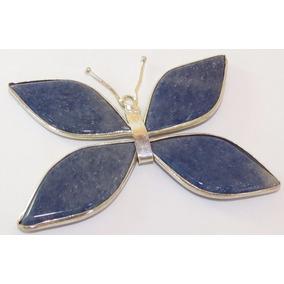 Pingente Borboleta Folheada A Prata Pedras Naturais Azul 001