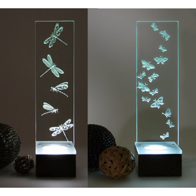 Lámparas-dos- Modernas Cristal Grabado Mariposa - Libélulas