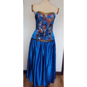 Vestidos de noche azul rey con pedreria
