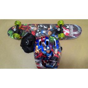 Skate Infantil Vingadores Kit Segurança Pronta Entrega