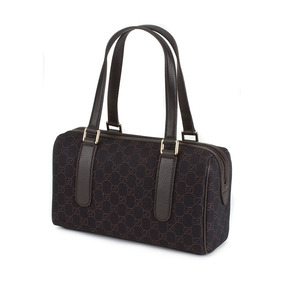 7a3af6db3 Bolsa Gucci Boston Em Tecido E Couro Marrom 100% Original