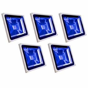 Refletor Led Holofote Led 30w Azul Bivolt Kit 5 Unidades