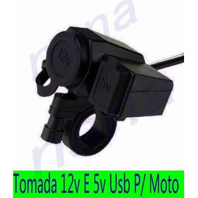 Tomada 12v E 5v Usb Para Moto Carrega Celular Gps