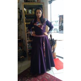 Vestido De Prenda Gaúcho Com Estampas Na Lateral E Manga