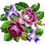 Matriz Bordado Ponto Cruz Rosas Margaridas Flor Rosa Cd100