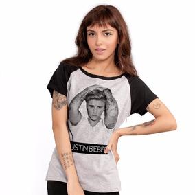 Camiseta Justin Bieber Purpose B&w Raglan Feminina