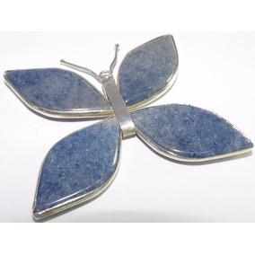Pingente Borboleta Folheada Prata Pedras Naturais Azul N002