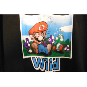 Camisa Playera Super Mario Bros Wiid Fun Shirt Negra Black