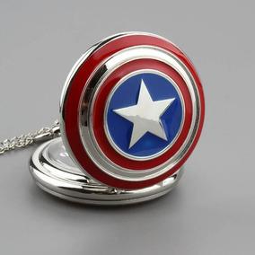Genial Collar Reloj Escudo Capitán América Vengadores Marvel