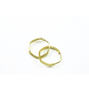 Brinco Ouro 18k Argola Sextavada P Bas0030