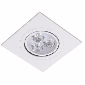 Spot 3w Embutir Branco Frio Super Led Direcionável Quadrado