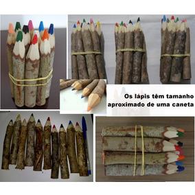 Lápis Tronco De Árvore Artesanal - 200 Unidades Frete Grátis