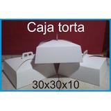 Caja Torta Blanca 30x30x10 Con Interior Marrón (pack X 150)