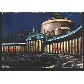Cartão Postal Antigo Piazza S. Francesco Notte Napoli Itália