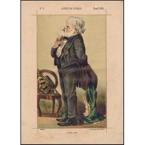 Gravura - Litografia - Caricatura - Dom Pedro I I - 1880