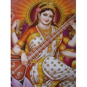Pôster Gravura Imagem Divindade Hindu Sarasvati Gg 2