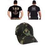 Camiseta Glock Bordada +boné Tático +camiseta Israel Defense