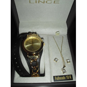 Relógio Fem Lince Lrc4239l K659c2pk + Colar E Brinco - Usado