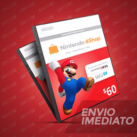 Cartão Nintendo 3ds Wii U Switch Eshop Cash $60 ($50+$10) Us