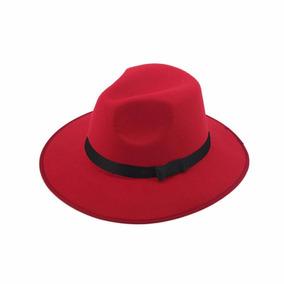 3041613437fe6 Sombrero Ala Ancha Vintage Hipster Rojo Con Negro D-170