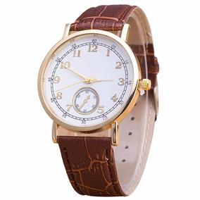 Relógio Quartz Com Pulseiras Couro Sintéticos Importado