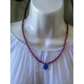 Collar De Rubies Naturales Facetados Con Zafiro En El Centro