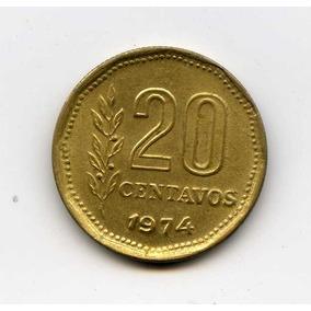 Argentina 20 Centavos 1974 Canto Fino 26e/cm Cj 340.1