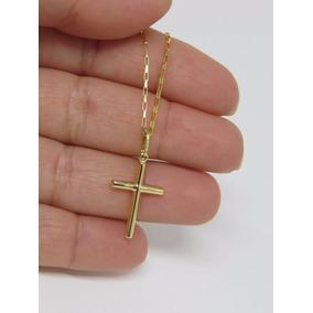 Cordão Corrente 70cm + Pingente Cruz Crucifixo Ouro 18k