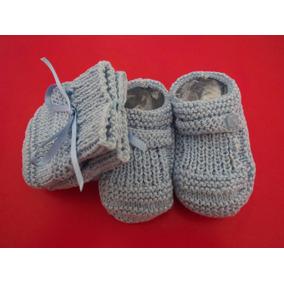 Sapatinhos De Tricô + Luvas (linha) Para Bebê (azul Claro) 52f2c05385a