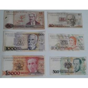 Dinheiro Antigo, Coleção, 6 Cédulas + Frete Pago.