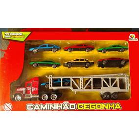 Caminhão Cegonha Com 8 Carrinhos Brinquedos Carros