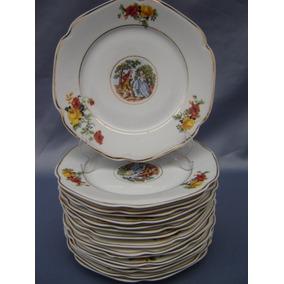 Pratos Rasos Em Porcelana Mauá Antigos - Cenas Galantes Leia