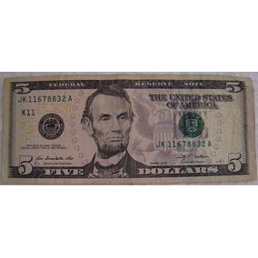 Cédula Nota Cinco (5) Dólares Americanos Mbc Vejam Fots