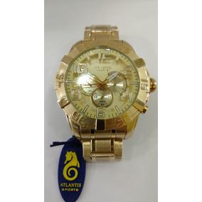 ca7c6767b2b Relógio Atlantis Masculino Dourado Original Frete Gratis