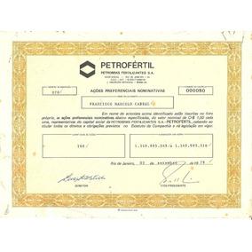 Apólice Acoes Preferenciais Petrofertil 1979 Petrobras 00080