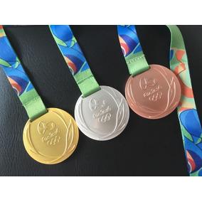 Coleção Medalhas Ouro Prata Bronze Olimpiadas 60mm Rio 2016