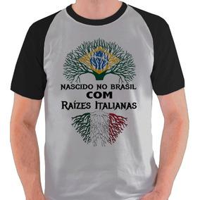 748ce888a32e6 Camiseta Italiano Descendente Árvore Camisa Raglan. 2 cores. R  39 98
