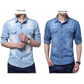 Camisa Slim Social Jeans Masculina Importada De Luxo Ref 108