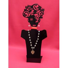 Exhibidor De Acrilico Busto Negro P Joyas Aretes Collar