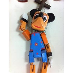 Marionete Minie Esculpido Em Madeira Pintado A Mão
