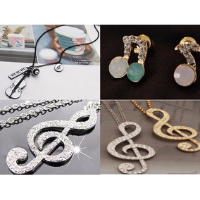 Collar Zarcillos Accesorios Nota Musical Música Violín Moda