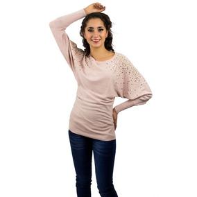 Suéter Largo De Dama Rosa Aplicaciones En Los Hombros