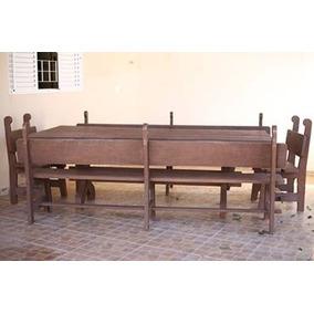 Mesa Antiga De Madeira Maciça Para 16 Pessoas