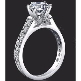 Anillo Compromiso Oro Blanco 18kt Diamante Simulado