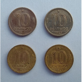 04 Moedas 10 Centavos Getúlio Vargas 1942 1943