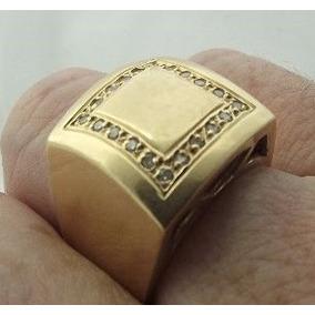 Anel Grande Ouro 18k 750 Cravejado 20 Diamantes 14,25 Gramas