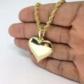Pingente Coração + Cordão Baiano Banhado Ouro 18k 50cm Fem. 54002ba2b5